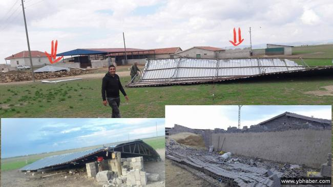Tol Yaylasında Şiddetli Rüzgar Çatıyı Uçurdu