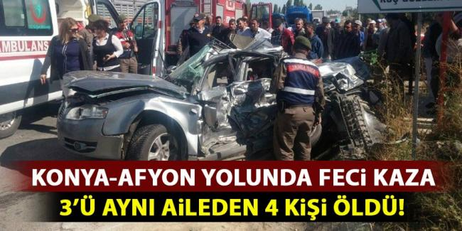 Konya-Afyon yolunda feci kaza: 4 ölü