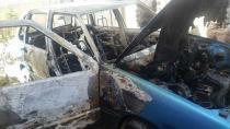 Karapınar'da Park Halindeki Otomobil Yandı
