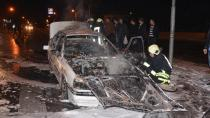 Konya'da araç alev topuna döndü