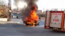 Konya'da seyir halindeki araç alev alev yandı